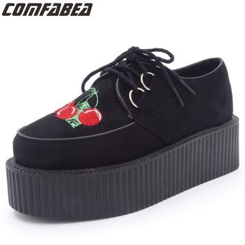 Harajuku Platform Shoes Woman Classic Cherry Embroidered Creepers Flats Platform Shoes Women's Casual Shoes Punk Rock black
