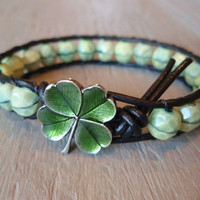 Leather wrap bracelet a Clover in the Mint green by slashKnots