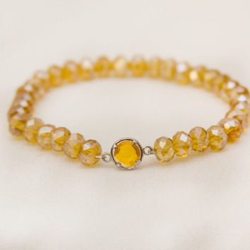 Yellow topaz bracelet November birthstone jewelry glass faceted beaded stretch stackable bracelet