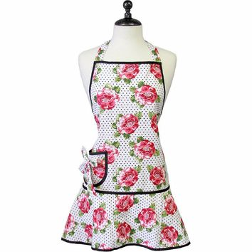 Cabbage Rose Pin Dot Vintage Pinafore Style Apron