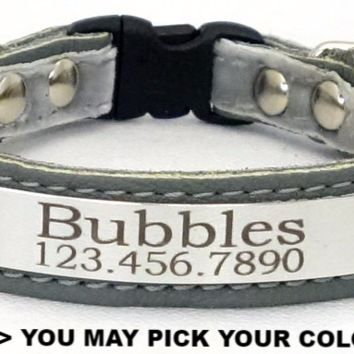 """Cat Collar: Leather-Ribbon-Suede - 5/8"""" Wide - Personalized with Breakaway Buckle"""