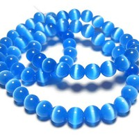 Cats Eye Fiber Optic 50 Beads 8mm Turquoise Marine Blue Jewelry Making