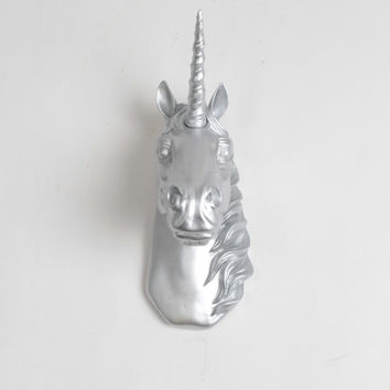 Mini Unicorn Head Wall Sculpture - The Binx in Silver by White Faux Taxidermy - Chic Home Decor Wall Hanging & Bedroom Art - Taxidermied Art