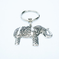 Elephant keychain / Elephant jewelry / Gift for sister / Gift for her / Elephant key ring / Silver elephant charms / Gift for him