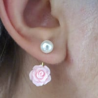 Pink Rose Ear Jackets Earring Jacks Peaerl Stud Post Gold Split Front Back In Out Peekaboo Rosebud Bud Jewelry