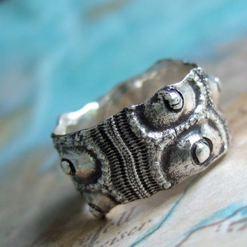 Sea Urchin Ring Nautical Jewelry, Sterling Silver Rustic Ring