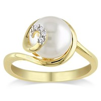 Yellow Gold Gold Flashed Silver 9.0-9.5 mm Freshwater Cultured Pearl and Diamond Ring (0.02 cttw, G-H Color, I2-I3 Clarity)