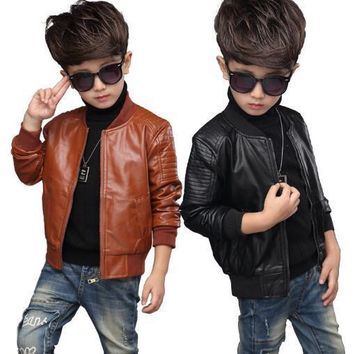 Trendy New Baby PU Leather Boy Jacket Thick Velvet Jacket Boys Coats Children Warm Outerwear 2 4 6 8 10 12 Years Kids Jackets AT_94_13
