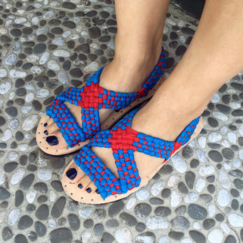 Tusk Sandal in Red and Blue