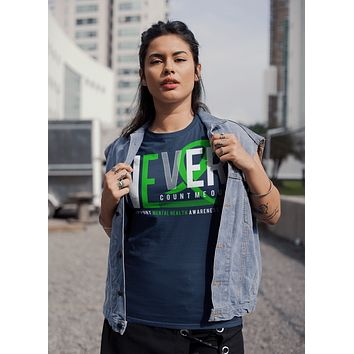 Women's Mental Health T-shirt Never Count Me Out Mental Health Shirts Green Ribbon TShirt Mental Health Shirts Typography