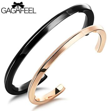 GAGAFEEL Bangle Braclets For Women Men Rose Gold Color Jewelry Titanium Stainless Steel Twisted Line Open Bracelet Bangles