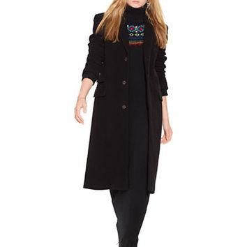 Polo Ralph Lauren Velvet Collar Wool Blend Coat