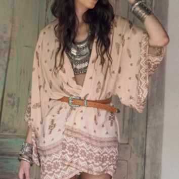 New cow skull kimono printed chiffon printing tribal spell cardigan beach sunscreen skirt