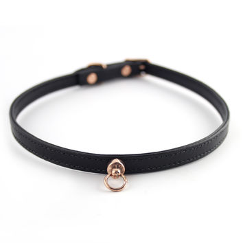 Black and Rose Gold Leather Choker