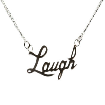 Laugh Stainless Steel Pendant Necklace