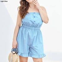 Wrapped chest ruffled wide leg large size women's denim shorts