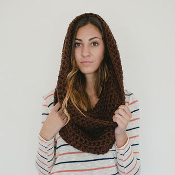 Brown infinity scarf, brown chunky scarf, brown scarf, cowl, shawl, oversized cowl, dark brown, chocolate, spring scarf, winter, fall