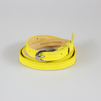 Bright Yellow Leather Skinny Belt by paulinacarcach on Etsy