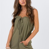 Kailey Playsuit Khaki | Princess Polly