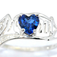 0.50 Ct Blue Sapphire Heart MOM Diamond Ring Sterling Silver Rhodium Finish White Gold Quality