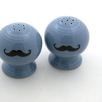 Salt and Pepper Shakers set with mustache moustache in by LennyMud