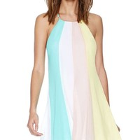 ® Women's Multicolor Spaghetti Strap Backless Chiffon Dress