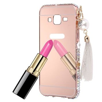 Diamond Bling Pearl For Samsung Galaxy Phone Case Plating Frame Mirror Cases