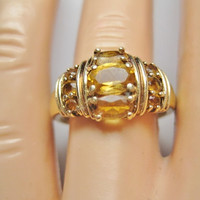Vintage 10K Citrine Ring Yellow Gold Sz 7.5
