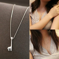Newest Beauty Cute Giraffe Necklace Solid Pendant Chain Crystal Choker Chunky Silver Fashion Jewelry