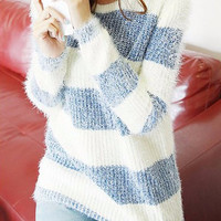 Casual Striped Fuzzy Sweater