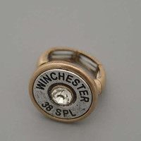 Gold and Silver Winchester 38 Special Bullet Ring
