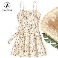 ZAN.STYLE Boho Floral Prints Bowknot Tied Cut Out Mini Dress Women Halter Backless Belted Beach Sundress Chiffon Summer Dresses