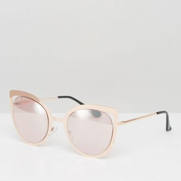 ASOS Rose Gold Cut Away Cat Eye Metal Sunglasses at asos.com