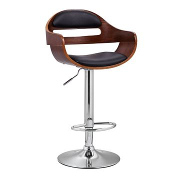 Adeco Black Leatherette and Walnut-Color Wood Hydraulic Lift Adjustable Barstool Low Back Chair Chrome Accent Pedestal Base
