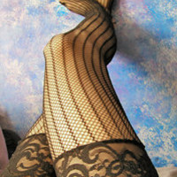 Vertically Striped Fishnet Thigh Highs with Lace Top