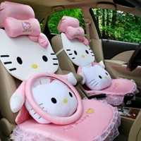 14pcs Hello Kitty Auto Car Front Rear Seat Cover Cushion Set 5-10 Days Delivery (Pink)