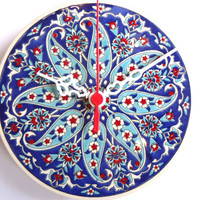 Wall Clock with Anatolian Daggers and flowers patterns,Ceramic Turkish tile.2012