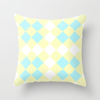 Checkers Yellow/Blue Throw Pillow by Dena Brender Photography