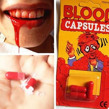 Free Shipping 18 pcs/set Safty Funny Blood Pill Trick Toys Whimsy Prop Vomiting Blood Capsule April Fool's Day Joke Toys GYH ZZZ