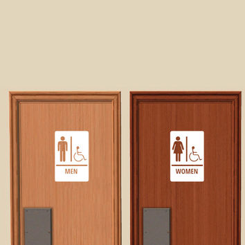 Men and Women Restroom Signs with International Symbol of Accessibility