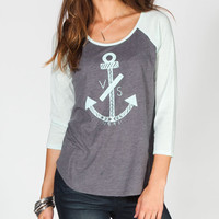 Volcom Saylor Womens Baseball Tee Charcoal  In Sizes