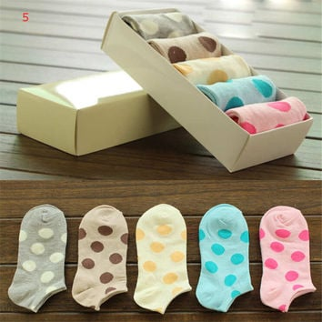 2016 New Hot Womens Girls Cute Bowknot Spring Summer Casual Sports Dots Ankle Socks (5 PCS) Socks-29