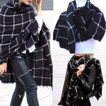 Women Blanket Plaid Cozy Checked Tartan Scarf Wraps shawl