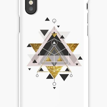 'Black white pink and golden glitter elegant geometric pattern' iPhone Case by Quaintrelle