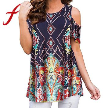 Feitong Plus Size Women Causal Blouses Sexy Off Shoulder Printing Short Sleeve Blouse Loose Tunic Tops blusa feminina 2018 New