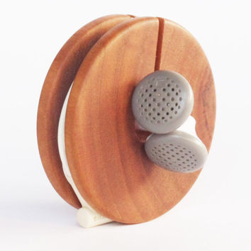 Wooden Earphone Holder, Earbud Cord Organizer, Headphone Case, Earphone Organizer, Wooden Cord Holder, Wood Earbud Holder, Cable Organizer