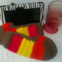 Holiday Special Thick Soft Slide on Bedroom Crocheted Slippers in Fall Colors Ready to Ship