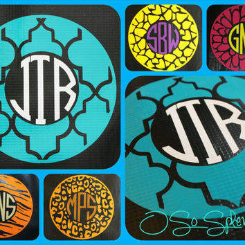 "35+ Colors To Choose from - 12"" Custom Circle Monogram Car Decal - Moroccan Outer Circle - Personalized Sticker Zigzag"