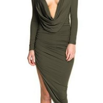Meet At Midnight Olive Green Long Sleeve Drape Cowl V Neck Ruched Asymmetric Mini Midi Bodycon Dress