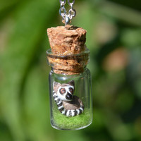 Bottle Necklace: Ring-tailed Lemur